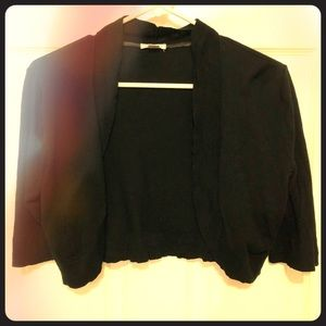 Black cropped open front cardigan